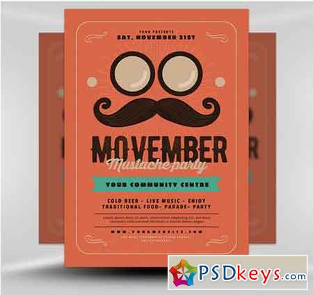 Movember Party Flyer Template v1