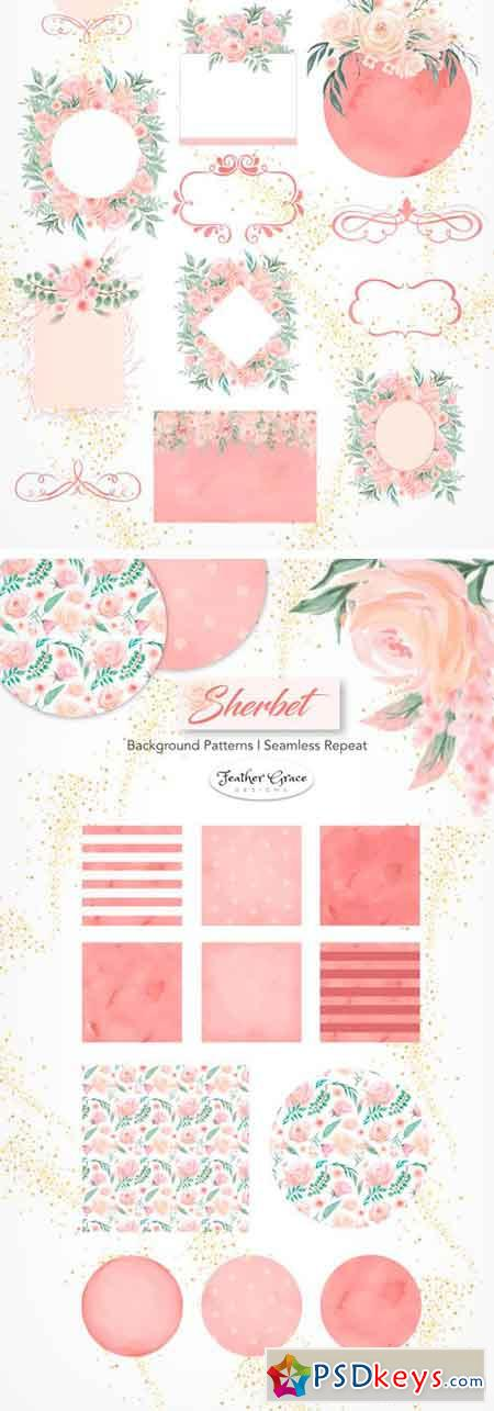 Watercolor Flowers - Sherbet 1884561