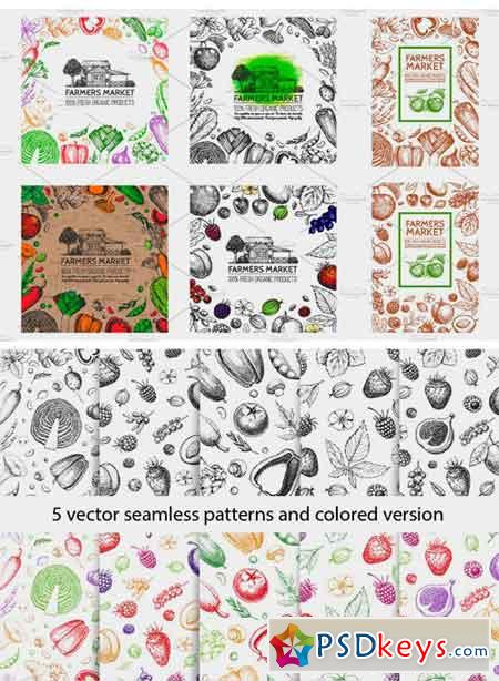 Hand Drawn Vegetables and Fruit 1934842