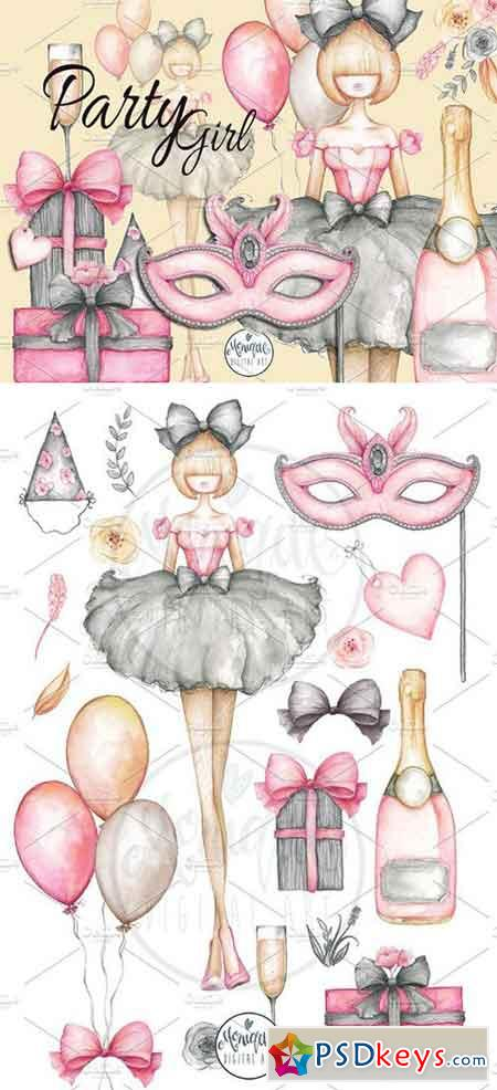 Party Girl Clipart Watercolor 1943325