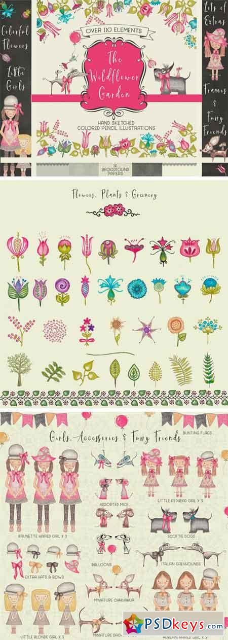 Hand Sketched Flowers Girls Animal 1929013