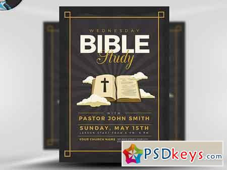 Bible Study Flyer Template V3 Free Download Photoshop Vector Stock