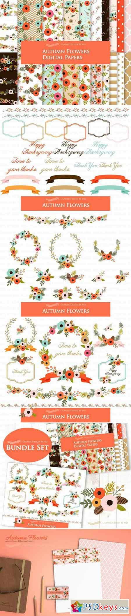 Autumn Flowers Clipart+Pattern set 1901243