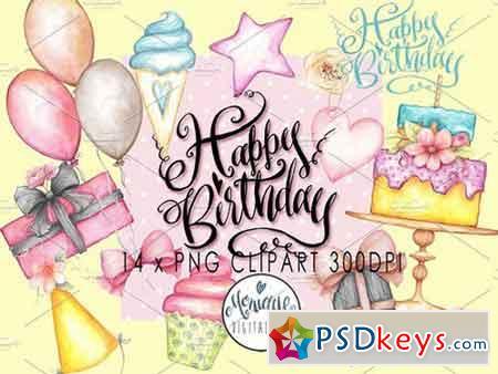 Happy Birthday Clipart Watercolor 1943233