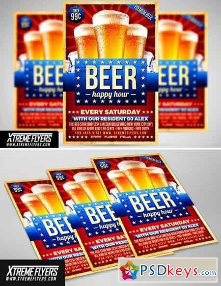 Beer Happy Hour Flyer Template 1815241