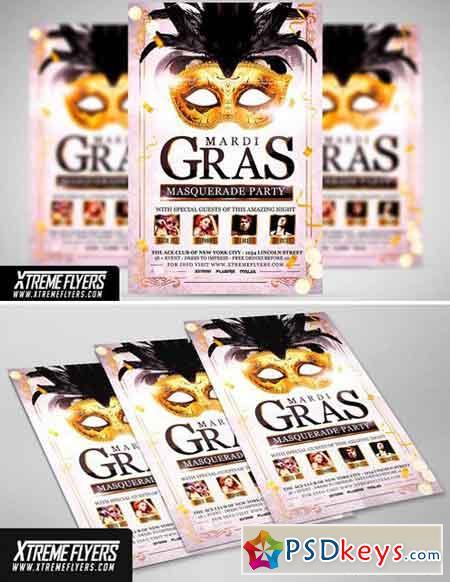 Mardi Gras Masquerade Flyer Template 1814945