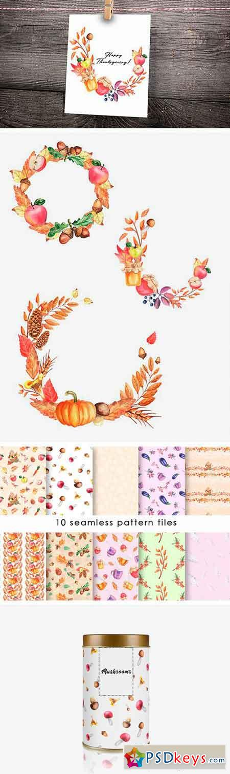 Autumn Collection Watercolor Clipart 1952883