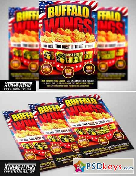 Wings Fast Food Flyer Template 1811383