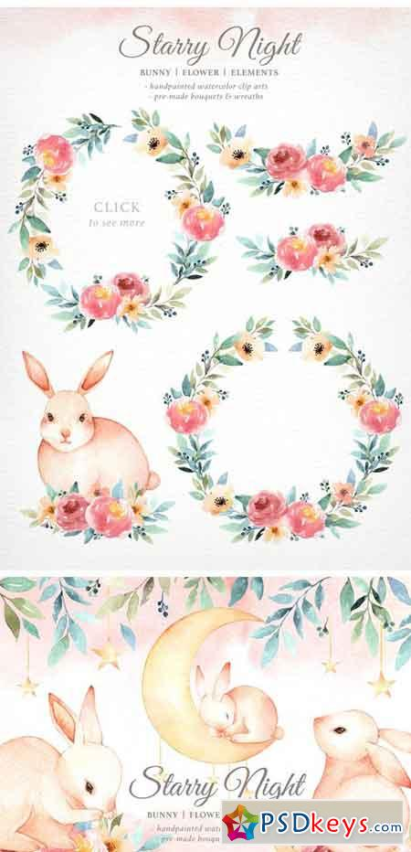 Starry Night Bunny Watercolor Set 1951334