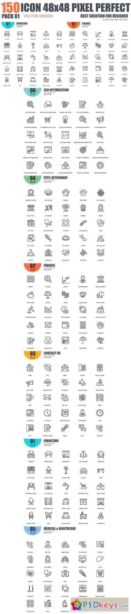 150 Vector Line icons 01