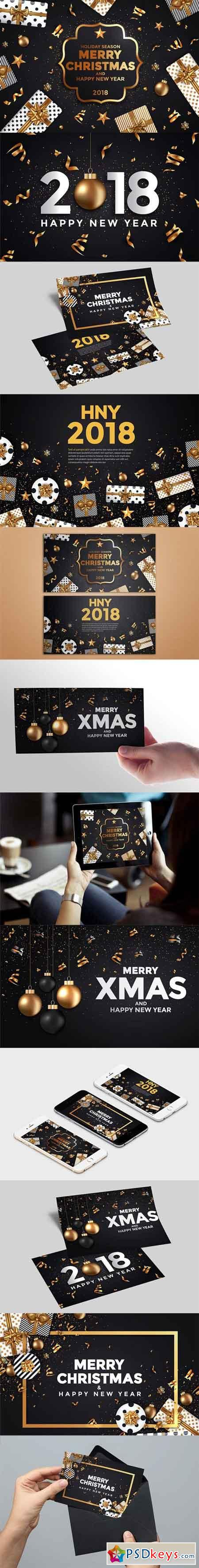 Stylish Modern Christmas and Happy New Year cards