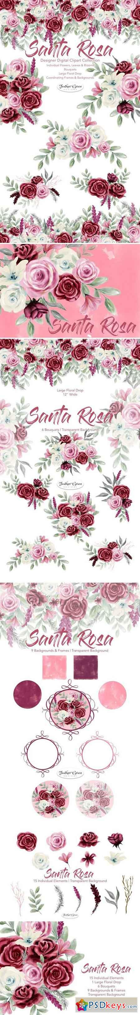 Watercolor Flowers Pink Burgundy 1943271