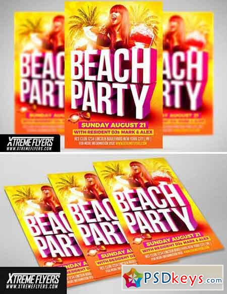 Beach Party Flyer Template   Free Download Photoshop Vector