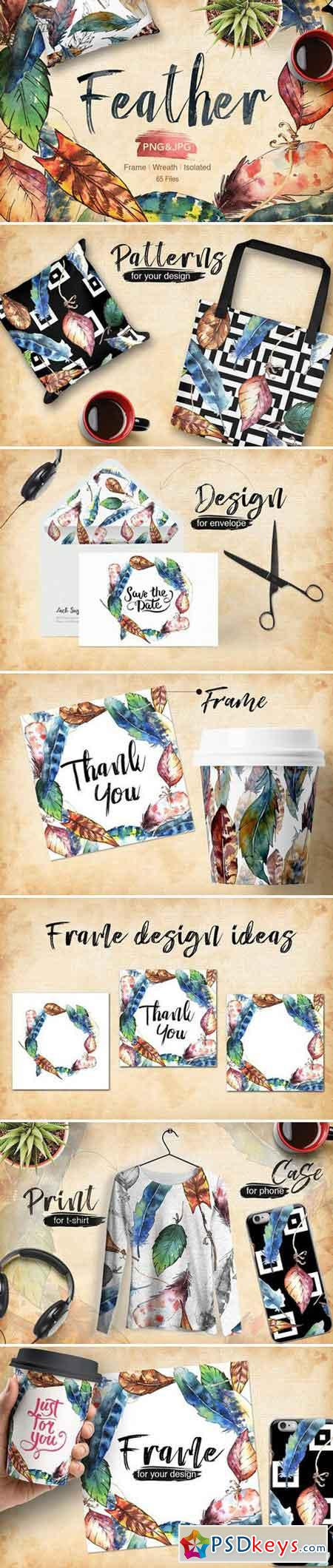 Feather bird PNG watercolor set 1942059