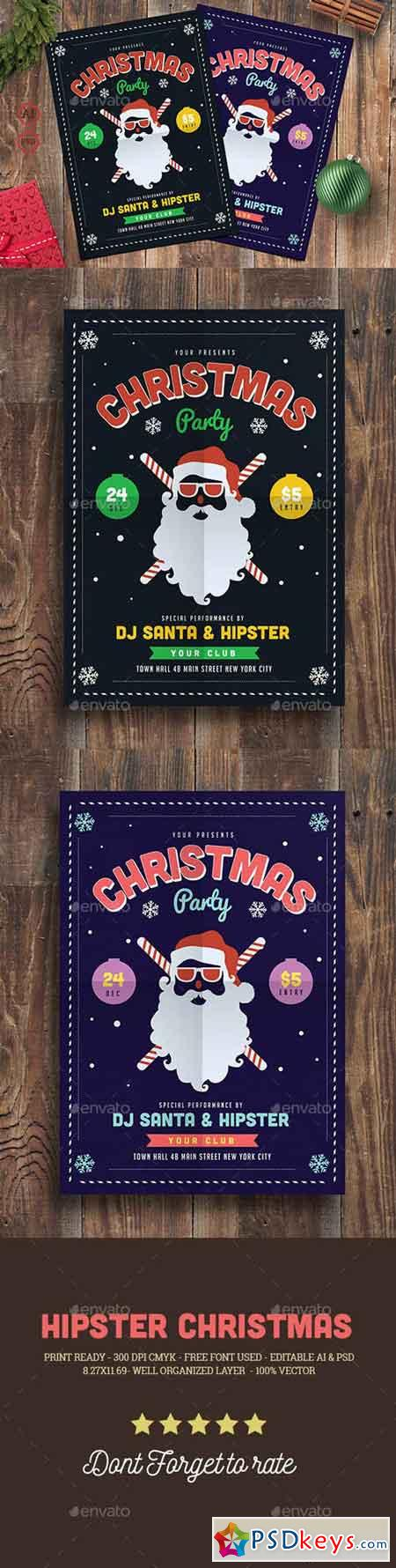 Hipster Christmas Party Flyer 19082268