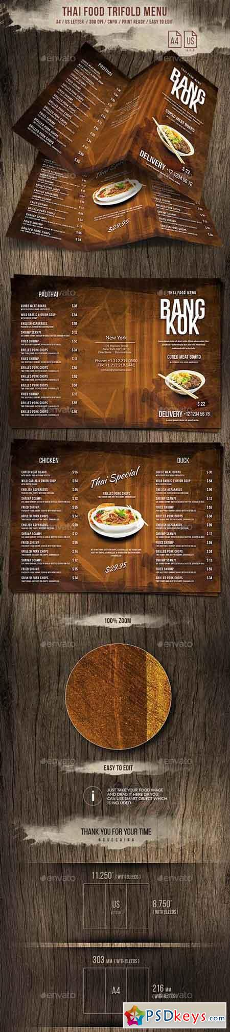 Thai Trifold A4 and US Letter Menu 20888908