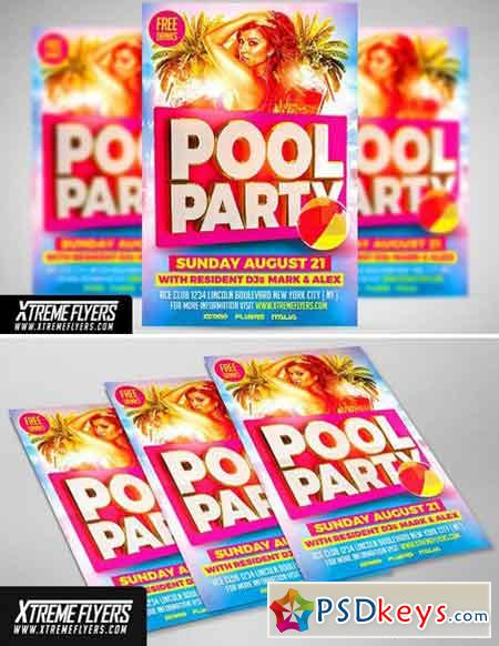 Pool Party Flyer Template 1811212