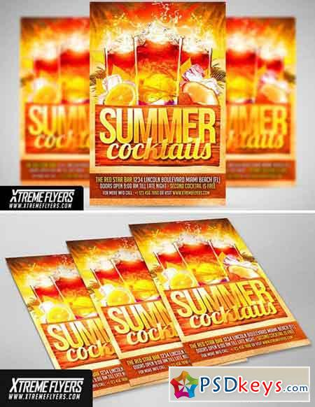 Summer Cocktails Flyer Template 1811199