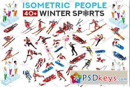 Winter Sport Athlete Icons Vector 1993859
