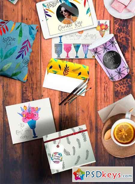 Autumn Liquor Watercolor Design Set 1984062