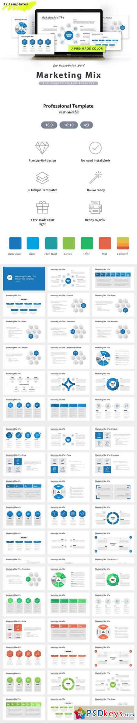 marketing mix powerpoint template » free download photoshop vector, Modern powerpoint