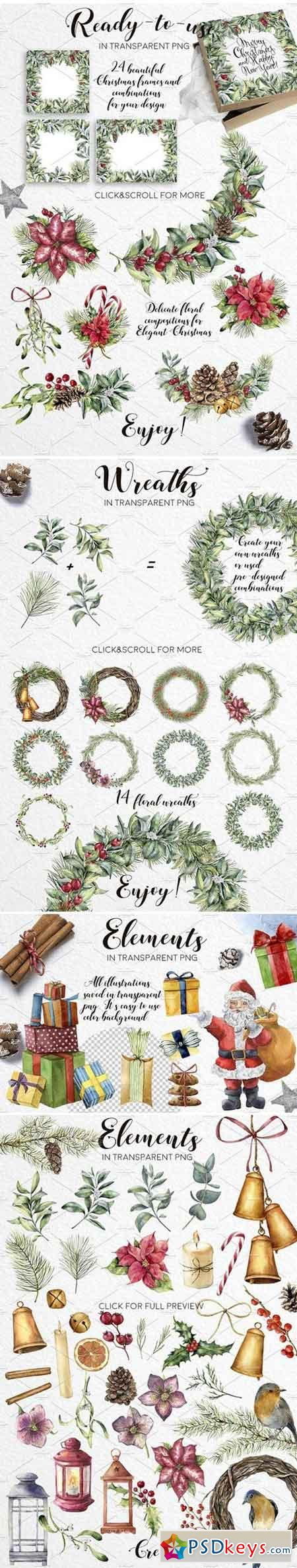 Elegant Christmas Watercolor bundle 2004277