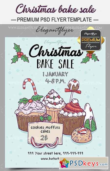 Christmas Bake Sale  Flyer Psd Template  Facebook Cover  Free