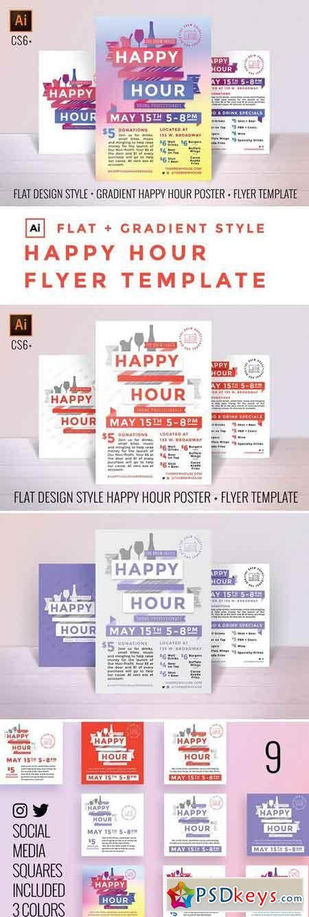Happy Hour Poster Flyer+Social kit 1388511