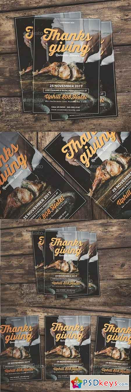 Thanksgiving Dinner Flyer   Free Download Photoshop Vector