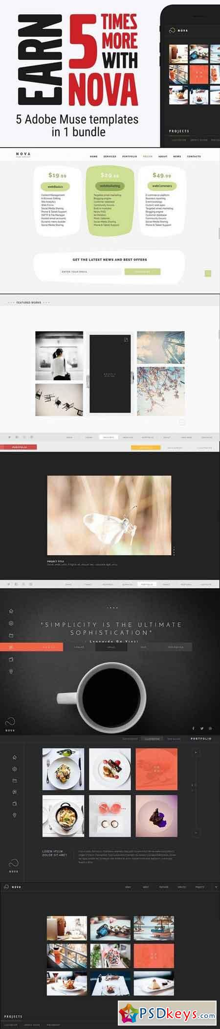 Nova Adobe Muse Template ( 5 in 1 ) 974873 » Free Download Photoshop