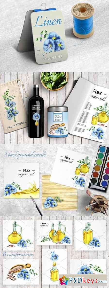 FLAX bundle Hand painted watercolor 1439310
