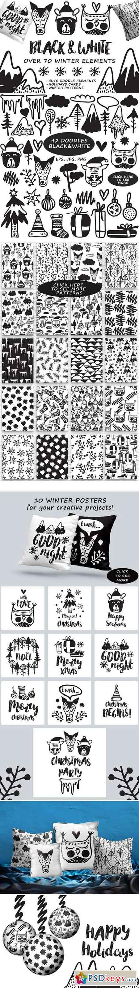 Black&White winter- hand drawn set 2006168