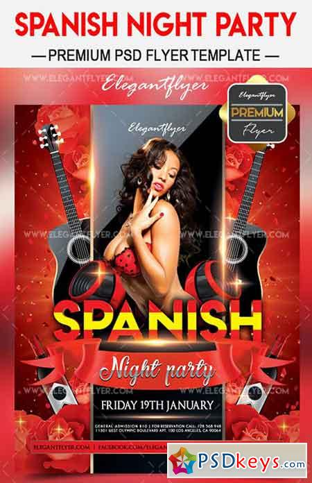 Spanish night party – Flyer PSD Template + Facebook Cover