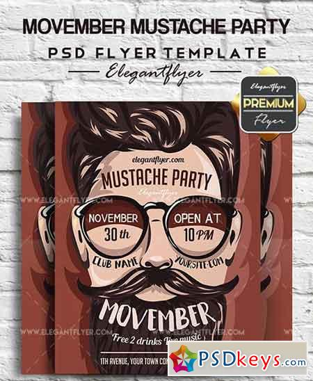 Movember Mustache Party – Flyer PSD Template + Facebook Cover