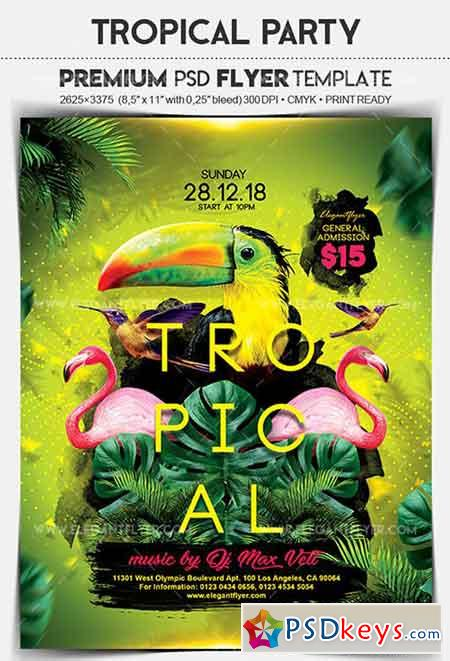 Tropical Party – Flyer PSD Template + Facebook Cover