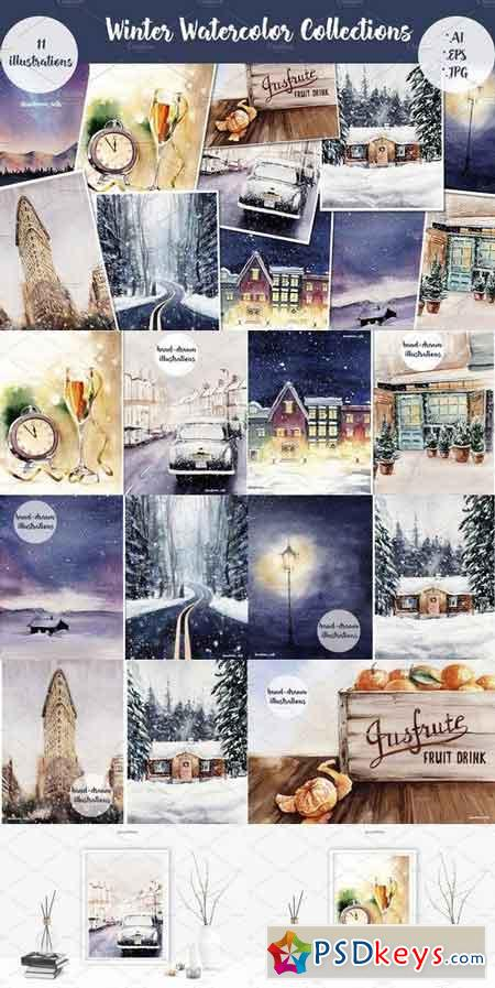 Winter Watercolor Collections 1837737