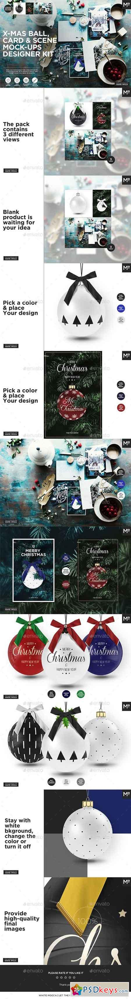 X-mas Ball, Card & Scene Mock-ups Designer Kit 20948473