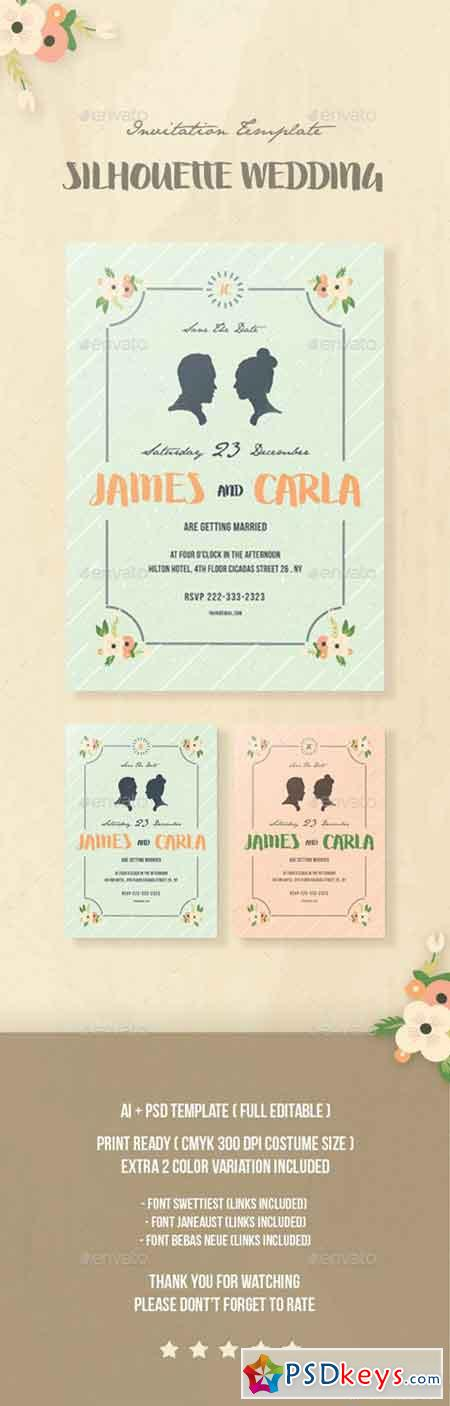 Silhouette Wedding Invitation 13878382