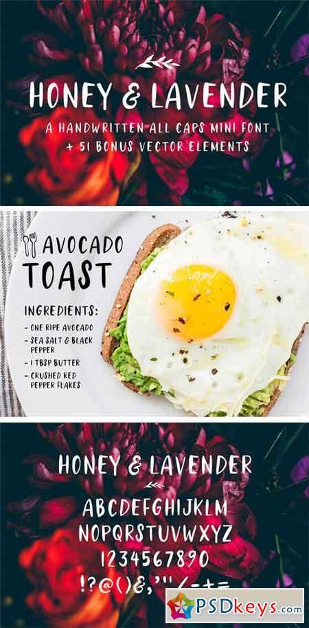 Honey & Lavender Cute Font + Extras 2003974