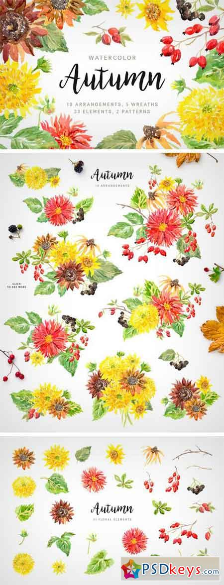 Autumn Watercolor Floral Collection 1978266