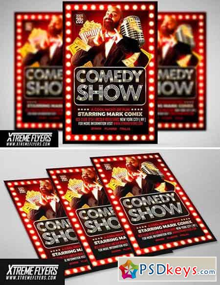 Comedy Show Flyer Template   Free Download Photoshop Vector