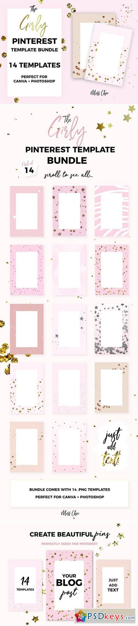 The Girly Pinterest Template Bundle 2007982