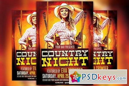 Western Country Night Flyer Template 213048 » Free Download