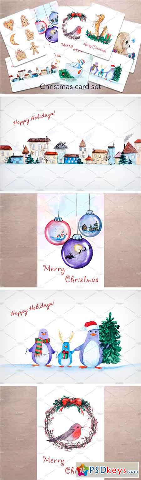 Watercolor Christmas Card Set 2040439