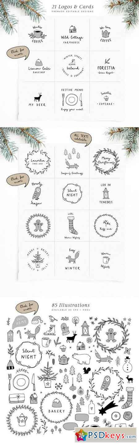 Snowy Christmas script font & logos 1840191