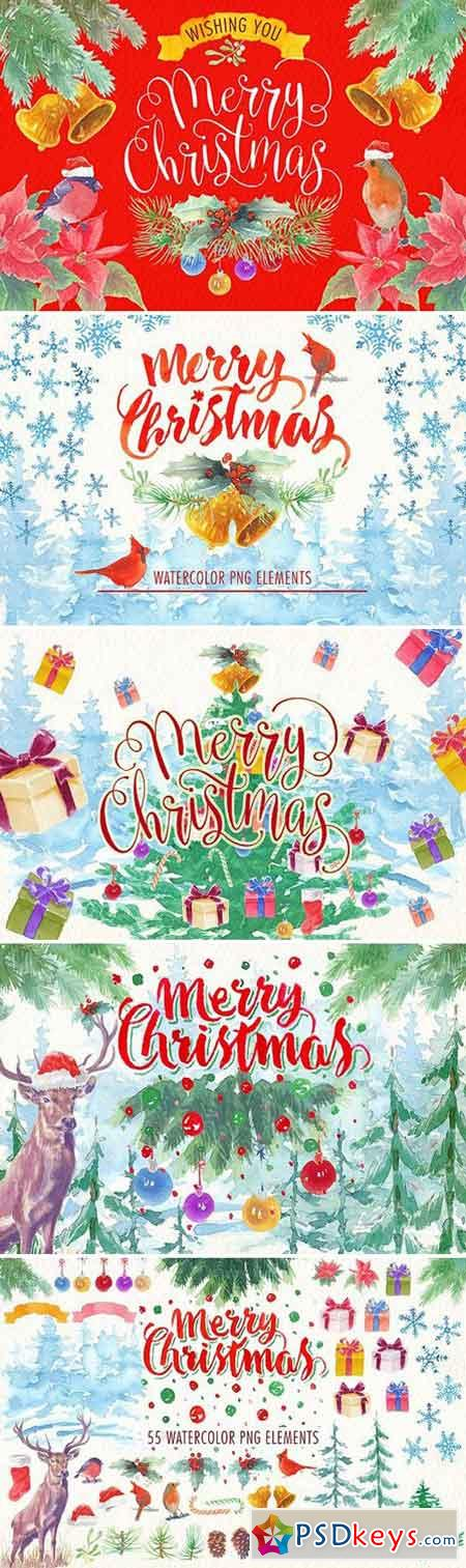 watercolor christmas png elements 1782924
