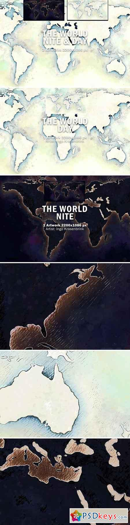 World Map Night & Day Illustration 2022009