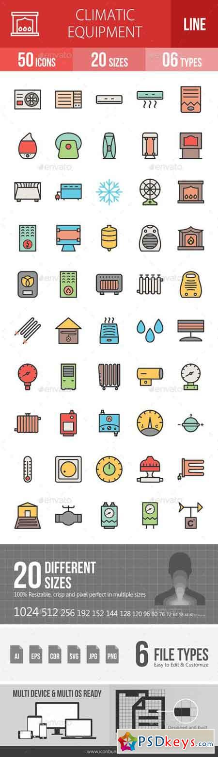Climatic Equipment Line Filled Icons 19267752