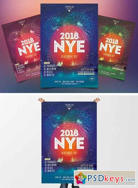 2018 NYE Eve - PSD Flyer Template 2042722