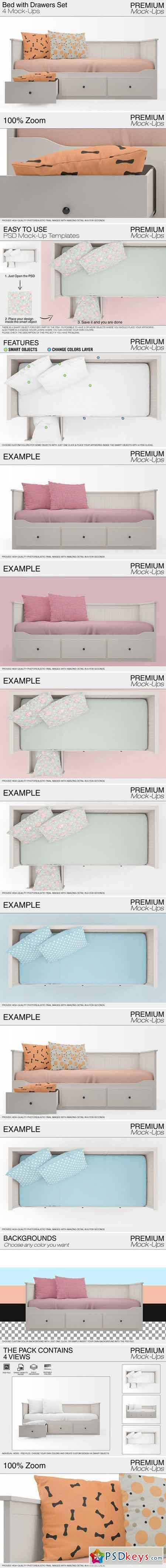 Bed with Drawers Mockup Pack 2043092